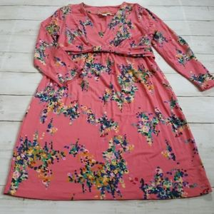 Boden croal floral knee length 3/4 sleeve dress